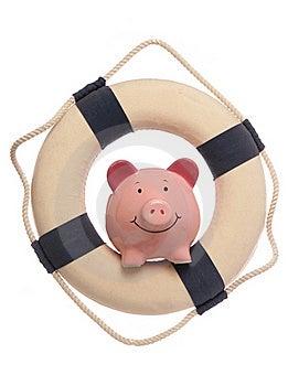 Piggybank With Safety Life Ring Stock Photo - Image: 19118280