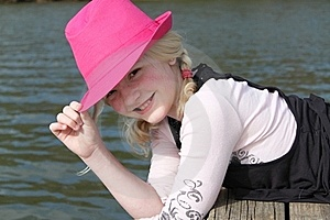 Girl In The Pink Hat Royalty Free Stock Images - Image: 19120569
