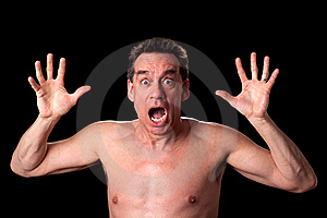 Screaming Shirtless Man On Black Stock Photos - Image: 19121043