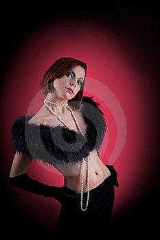 Woman Portrait With Fur Boa In Retro Style Royalty Free Stock Photography - Image: 19123527