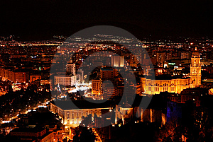 Malaga At Night - Cityscape Royalty Free Stock Images - Image: 19125389