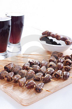 Grilled Chicken Hearts On Skewers Royalty Free Stock Photos - Image: 19127358