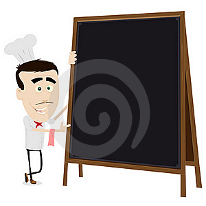 Chef Cook Holding A Blackboard Royalty Free Stock Image - Image: 19128446