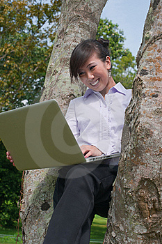 Business Woman Using Laptop Outdoor Royalty Free Stock Photos - Image: 19129348