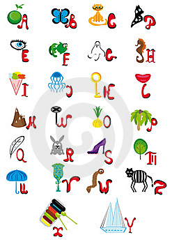 English Animated Alphabet Royalty Free Stock Photos - Image: 19129858