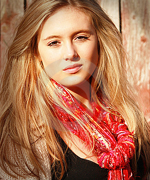 Girl With Red Scarf Stock Photo - Image: 19130660