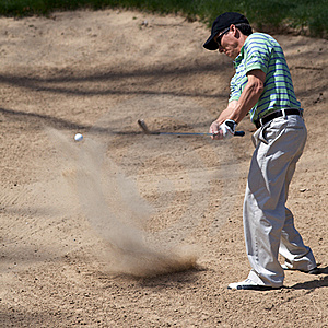 Golfer Hits His Golf Ball Royalty Free Stock Image - Image: 19132116