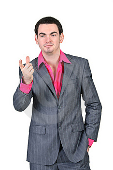 Business Man In A Gray Suit And Pink Shirt Stock Photo - Image: 19133800