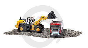 The Heavy Bulldozer And Heavy Truck Stock Images - Image: 19133934