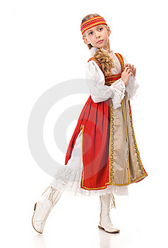 Young Girl Dancing In National Dress Royalty Free Stock Photo - Image: 19138545