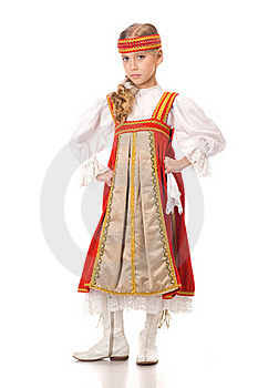 Young Girl Dancing In National Dress Stock Image - Image: 19138561