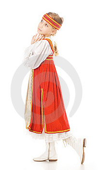 Young Girl Dancing In National Dress Stock Photo - Image: 19138610