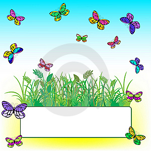 Card With Grass And Butterflies Royalty Free Stock Images - Image: 19138809