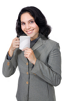 Mixed Race Woman Drink Coffee Royalty Free Stock Photo - Image: 19149785