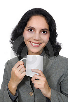 Mixed Race Woman Drink Coffee Royalty Free Stock Image - Image: 19149806