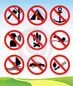 Travel And Leisure Prohibition Signs. Royalty Free Stock Photos - Image: 19157098