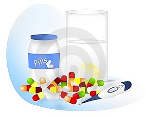 Pills For Fever, Cdr Vector Royalty Free Stock Photography - Image: 19157507
