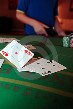 Poker Player Throwing In Loosing Cards Stock Photo - Image: 19162170