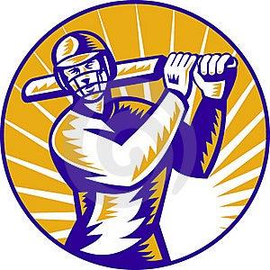 Cricket Batsman Batting Front View Royalty Free Stock Photos - Image: 19163098