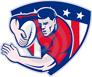 American Rugby Player Fending Shield Royalty Free Stock Image - Image: 19163106