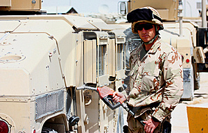 A Soldier Refueling A Militay Vehicle Royalty Free Stock Image - Image: 19163886