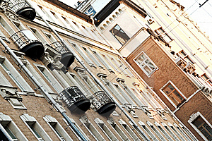 Moscow Old House With Black Balcony Royalty Free Stock Photos - Image: 19165758