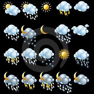 Weather Icons Set. Royalty Free Stock Photography - Image: 19170967