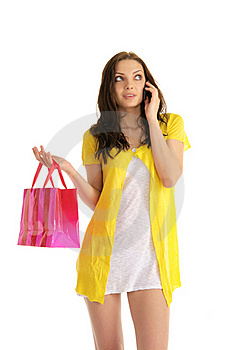 Young Woman With A Phone And Bag Stock Images - Image: 19171724