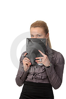 Businesswoman Hid Face Behind Notepad Royalty Free Stock Photos - Image: 19172068