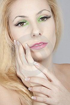 Beautiful Blond Girl, Joyful Colorl Makeup Stock Image - Image: 19172591