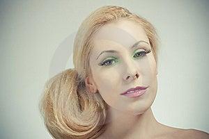 Beautiful Blond Girl, Joyful Color Makeup Royalty Free Stock Photography - Image: 19172597