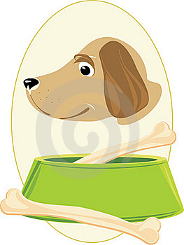 Doggy Muzzle And Bones In A Green Bowl. Sticker Royalty Free Stock Photo - Image: 19175415