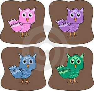 Colourful Owls Royalty Free Stock Photo - Image: 19175535