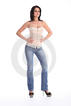 Beautiful Tall Woman Wearing Corset And Jeans Stock Photo - Image: 19178920