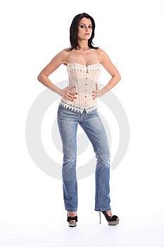 Beautiful Tall Woman Wearing Corset And Jeans Stock Photo - Image: 19178920