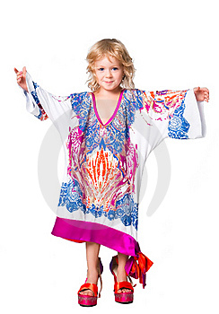 Portrait Of Pretty Girl Trying Mama's Outfit Royalty Free Stock Photo - Image: 19179975