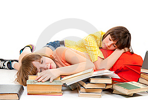 Two Schoolgirls Were Tired Of Reading Books Royalty Free Stock Images - Image: 19181589