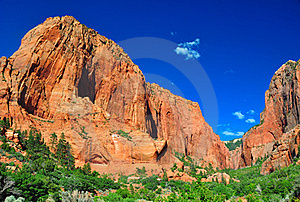 Towering Rocks At Zion NP Royalty Free Stock Photography - Image: 19187887