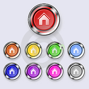 A Set Of Round Buttons Home Stock Image - Image: 19189001