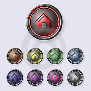 A Set Of Round Buttons Home Royalty Free Stock Photography - Image: 19189007