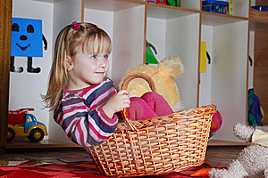Little Girl With Basket Royalty Free Stock Photo - Image: 19191425