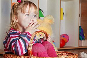 Little Girl With Basket Playing Stock Images - Image: 19191554