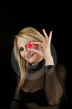 Sexy Blond With Red Poker Chip Royalty Free Stock Image - Image: 19191576