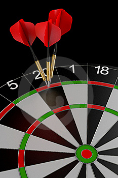 Three Darts Hitting The Perfect Score Stock Images - Image: 19191874
