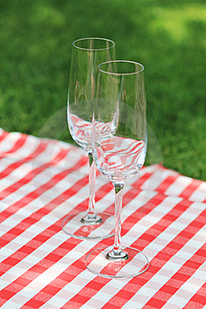 Two Empty Glasses  In The Garden Royalty Free Stock Image - Image: 19191966