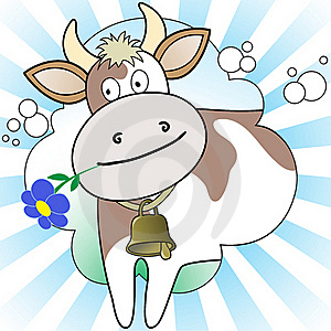 Cow On The Radiant Background Royalty Free Stock Photo - Image: 19192105