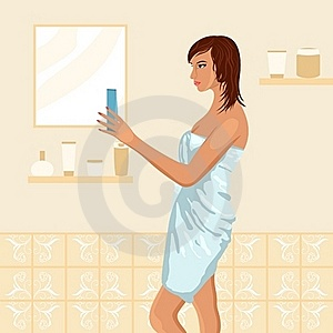 Pretty Women In Bathroom Stock Photography - Image: 19192412