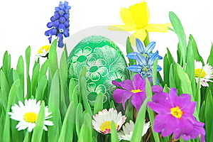 Easter Egg On A Spring Meadow Stock Images - Image: 19193524