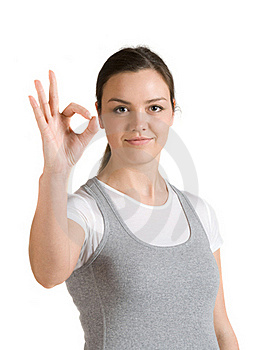 Caucasian Girl Shows Gesture Okay Stock Photography - Image: 19197972