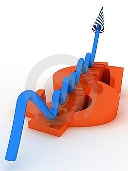 Sign Orange Dollar With Arrow Grow Stock Photo - Image: 19198840
